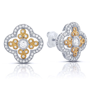 Two tone sterling silver with gold plated stud earrings and simulated diamonds by swarovski. - Zaitano