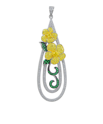 Sterling silver pendant with lab grown emerald and simulated diamonds by swarovski. - Zaitano