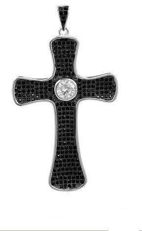 Sterling silver pendant with SIGNATY simulated diamonds by Swarovski and black stones. - Zaitano