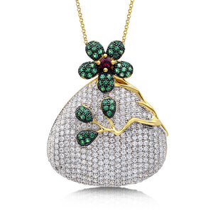Sterling silver pendant with lab grown emerald and ruby simulated diamonds by swarovski. - Zaitano