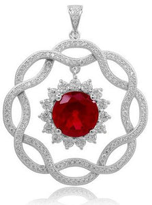 Sterling silver pendant with lab grown ruby and simulated diamonds by swarovski. - Zaitano