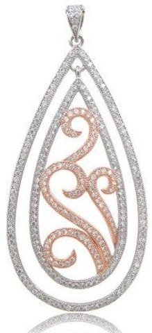 Two tone Rose gold plated pear pendant. - Zaitano