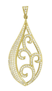 Yellow Gold plated sterling silver drop shaped pendant. - Zaitano