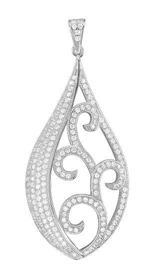 Sterling silver drop pendant and simulated diamonds by swarovski.  ZP-0025 - Zaitano