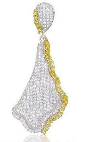 Sterling silver pendant with gold plated strips and simulated diamonds by swarovski. - Zaitano