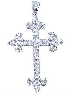 Sterling silver cross pendant and simulated diamonds by swarovski. - Zaitano