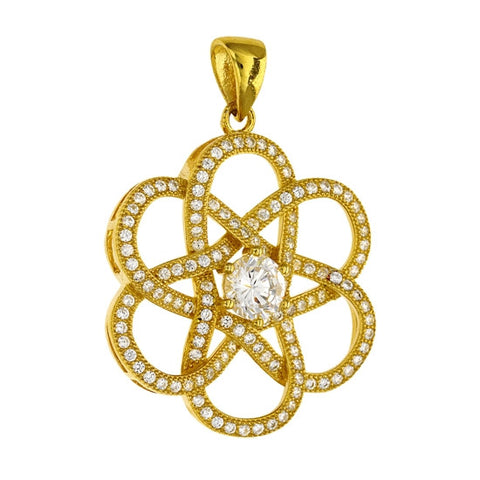 Yellow Gold plated sterling silver flower pendant. - Zaitano