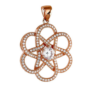 Rose gold plated flower pendant and simulated diamonds by swarovski. - Zaitano