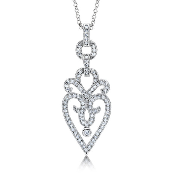 Heart shape pendant and simulated diamonds by swarovski. - Zaitano