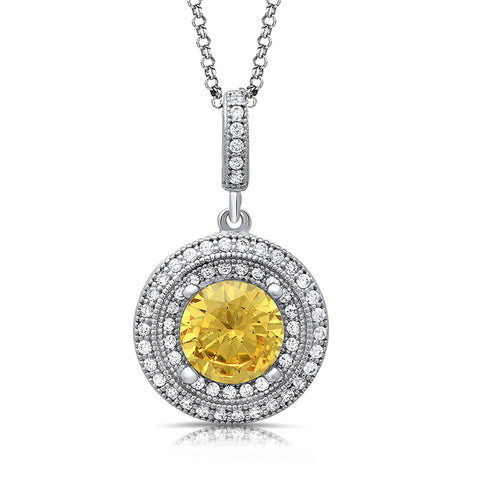 Sterling silver pendant with lab grown canary and simulated diamonds by swarovski. - Zaitano