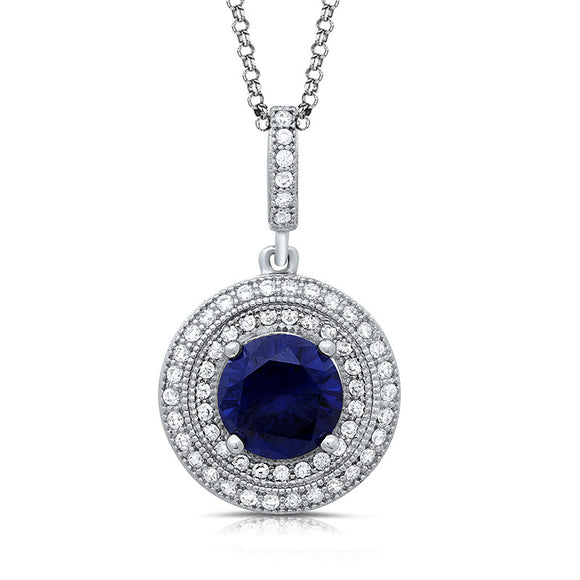 Sterling silver pendant with lab grown sapphire and simulated diamonds by swarovski. - Zaitano