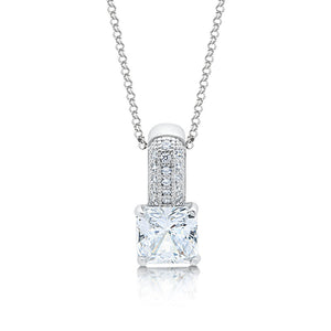 Sterling silver with simulated diamonds by Swarovski square pendant. - Zaitano