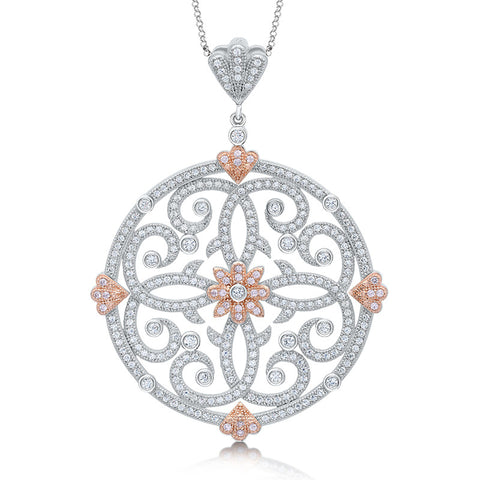 Two tone round pendant rose gold and simulated diamonds by swarovski. - Zaitano