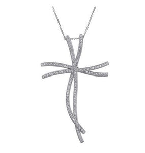 Sterling silver pendant and simulated diamonds by swarovski. - Zaitano