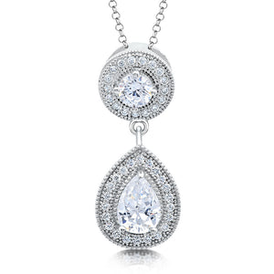 Sterling silver round pendant and simulated diamonds by swarovski. - Zaitano