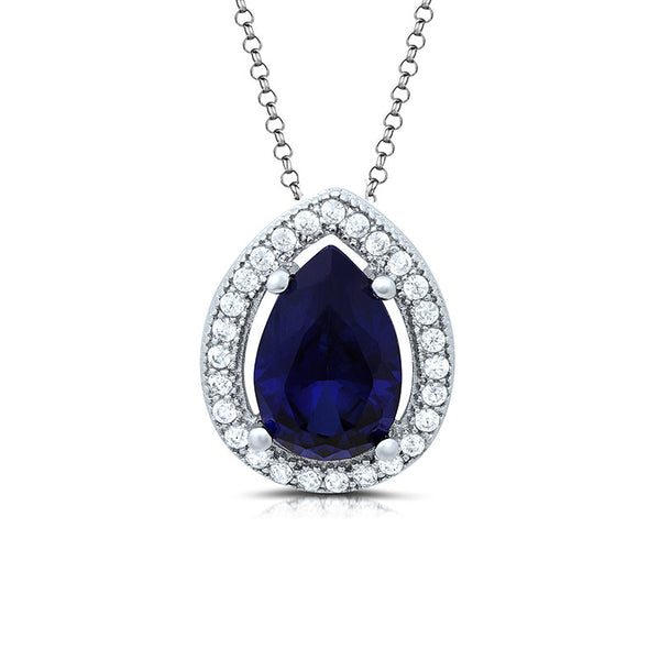 Sterling silver lab grown sapphire and simulated diamonds by swarovski. - Zaitano