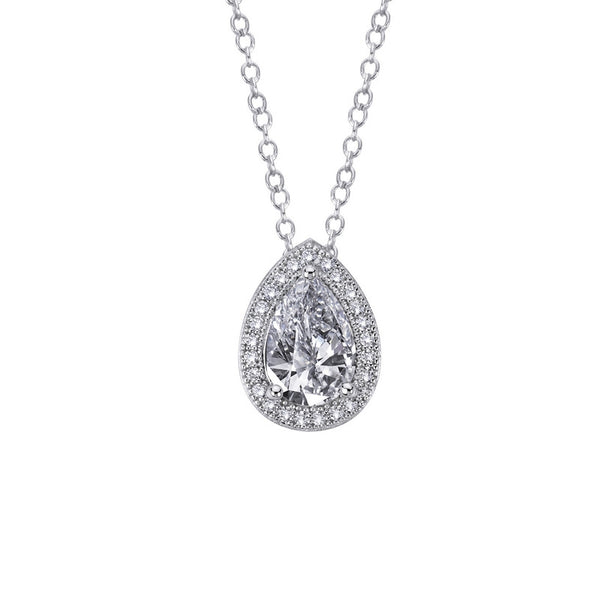 Sterling silver bonded with platinum pear shaped pendant and simulated diamonds by swarovski. - Zaitano