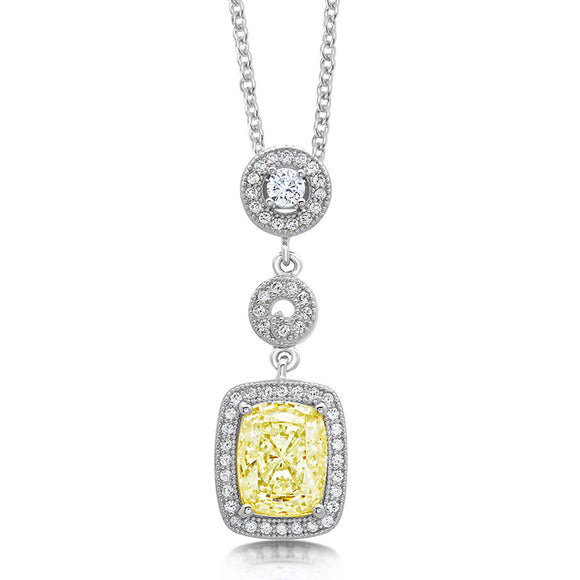 Pendant with lab grown rectangle canary and simulated diamonds by swarovski. - Zaitano