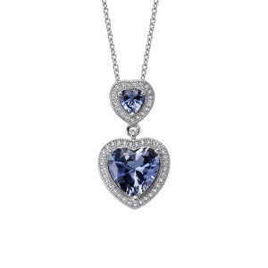 Heart shape lab sapphire pendant and simulated diamonds by swarovski. - Zaitano