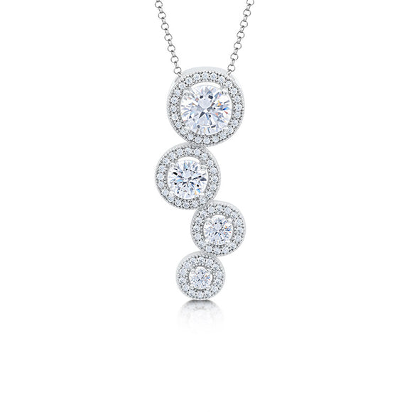 Sterling silver circle pendant and simulated diamonds by swarovski. - Zaitano
