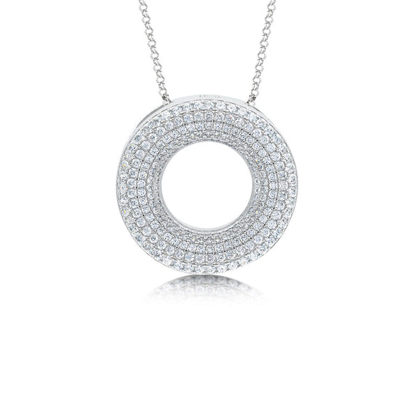 Circle of luck pendant and simulated diamonds by swarovski. - Zaitano