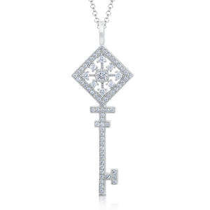 Sterling silver key pendant and simulated diamonds by swarovski. - Zaitano