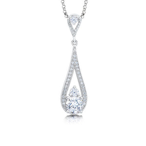 Drop pear shape pendant and simulated diamonds by swarovski. - Zaitano