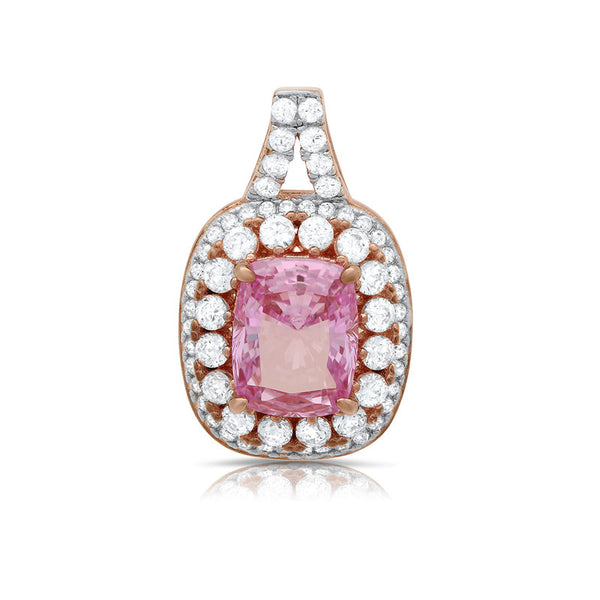 Sterling silver pendant with lab grown pink stone and simulated diamonds by swarovski. - Zaitano