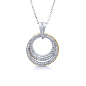 Two tone pendant bonded with platinum and simulated diamonds by swarovski. - Zaitano
