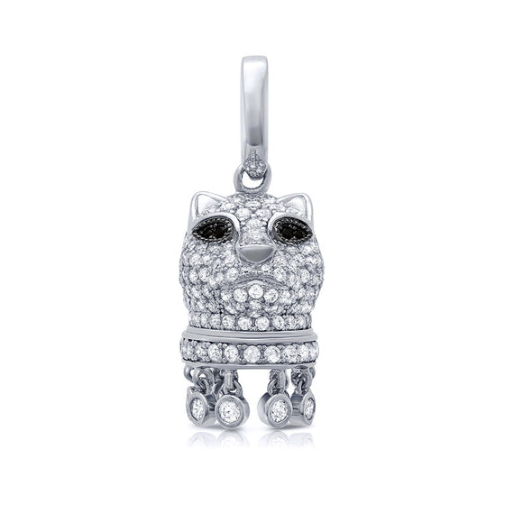Cat pendant and simulated diamonds by swarovski - Zaitano - Zaitano