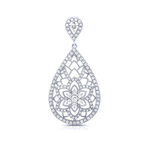 Sterling silver flower pendant and simulated diamonds by swarovski. - Zaitano