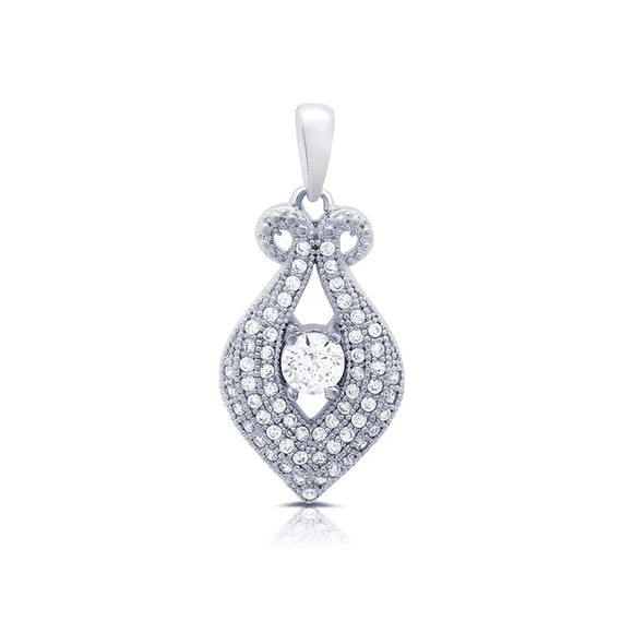 Sterling silver heart shaped pendant and simulated diamonds by swarovski. - Zaitano