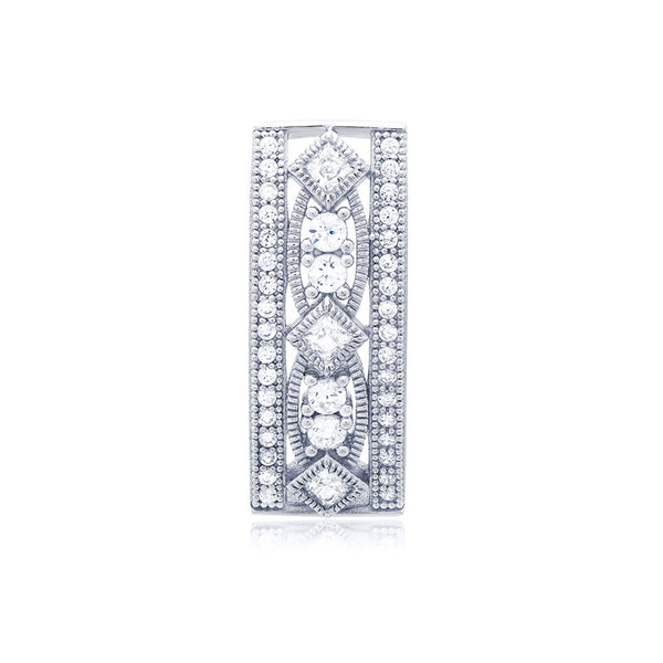 Fashion silver pendant and simulated diamonds by swarovski. - Zaitano