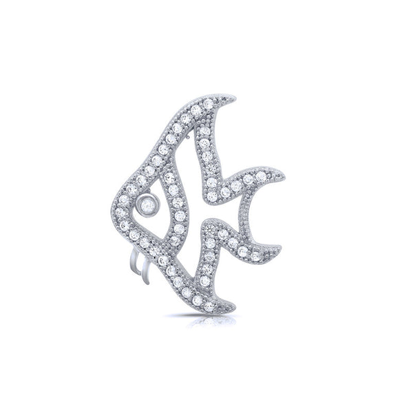 Fish pendant and simulated diamonds by swarovski. - Zaitano