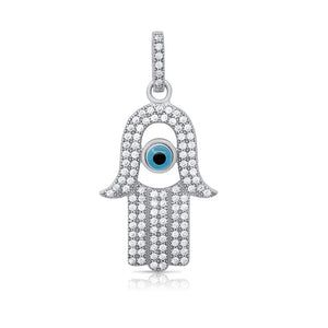 Jewish evil eye pendant and simulated diamonds by swarovski. - Zaitano