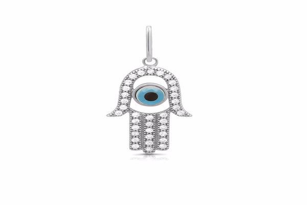 Jewish evil eye small pendant and simulated diamonds by swarovski. - Zaitano