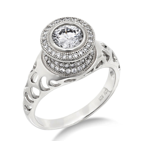 Sterling silver bonded with platinum micro pave fashion ring. - Zaitano