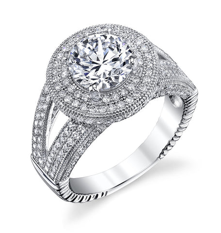 Sterling silver with round pave fashion ring and simulated diamond by swarovski. - Zaitano