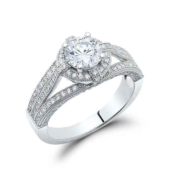 Sterling silver with round fashion ring and simulated diamonds by swarovski. - Zaitano