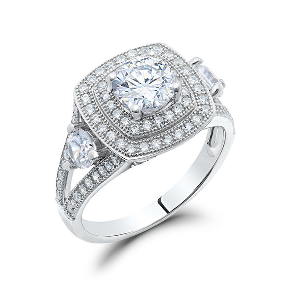 Sterling silver bonded with platinum micro pave ring. - Zaitano
