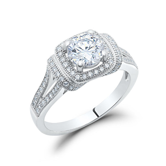 Sterling silver bonded with platinum round halo engagement ring. - Zaitano