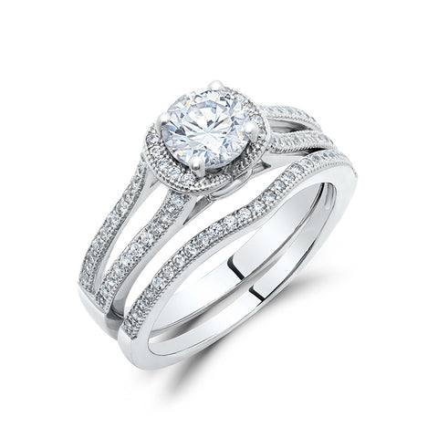 Zaitano single stone engagement ring with band in sterling silver. - Zaitano