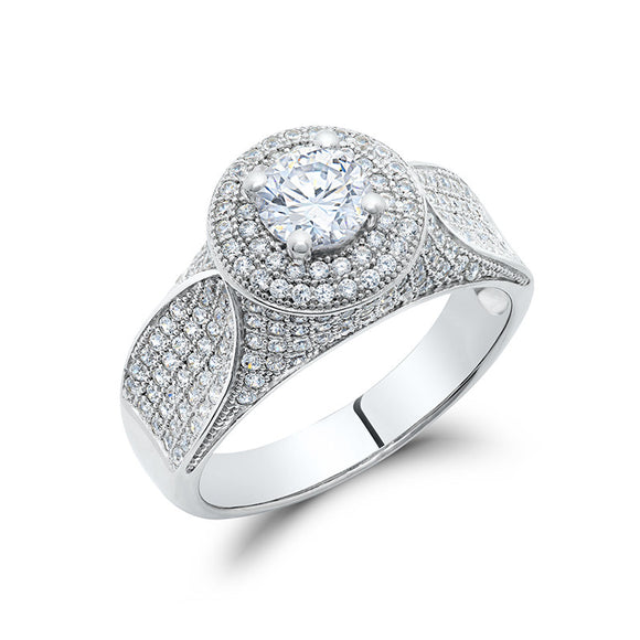 Sterling silver with single stone and simulated diamonds by swarovski. - Zaitano