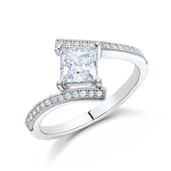 Sterling silver bonded with platinum princess cut engagement ring. - Zaitano