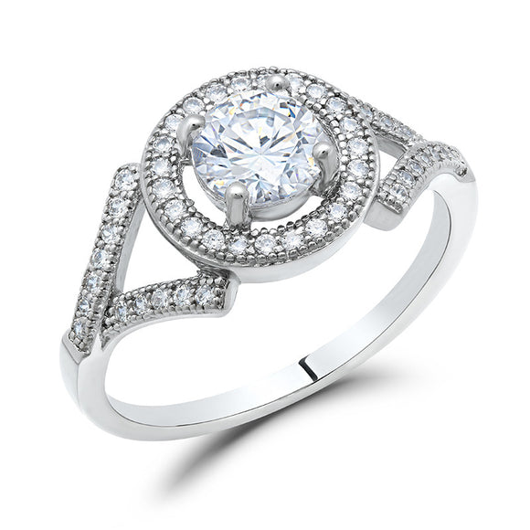 Sterling silver with round brilliant simulated diamonds by swarovski. - Zaitano