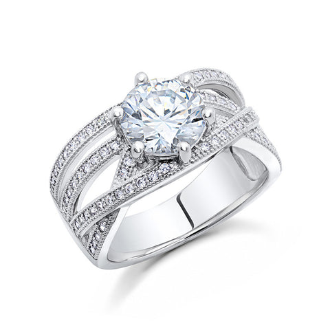 Sterling silver with round wedding ring and simulated diamonds by swarovski. - Zaitano