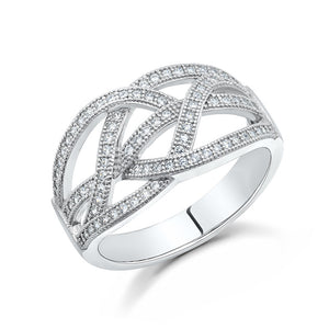 Sterling silver bonded with platinum fashion rings and simulated diamonds by swarovski. - Zaitano