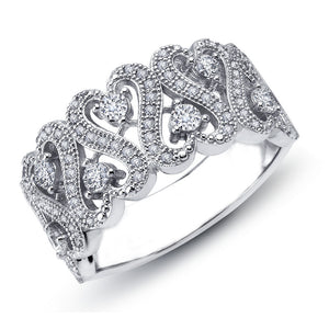 Sterling silver ring bonded  by platinum and simulated diamonds by swarovski. - Zaitano