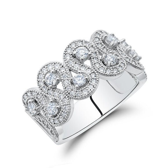 Sterling silver ring bonded with platinum and simulated diamonds by swarovski. - Zaitano