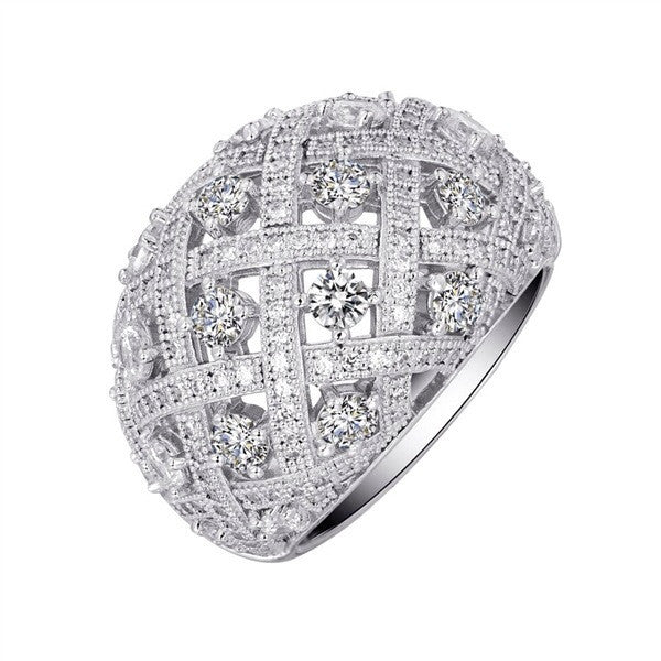 Sterling silver bonded with platinum fashion ring and simulated diamonds by swarovski. - Zaitano